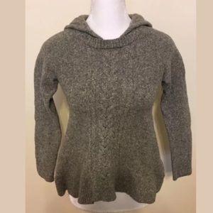 MOTH Anthropologie Grey Wool Blend Hood Sweater M